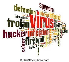 virus, begreb, ind, etiketten, sky
