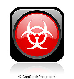 virus black and red square web glossy icon