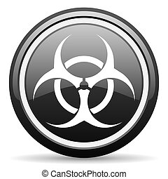 virus black glossy icon on white background