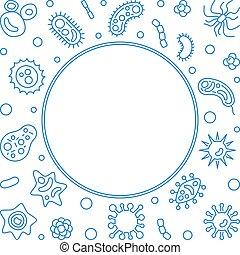 Virus blue frame. Vector concept virology line illustration...