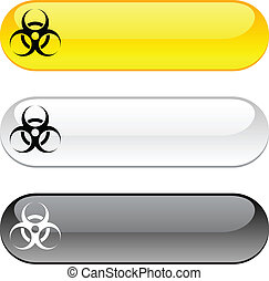 Virus button. - Virus glossy buttons. Three color version.