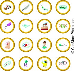 Virus cartoon icon circle cartoon isolated vector...