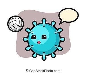 Virus cartoon is playing volleyball