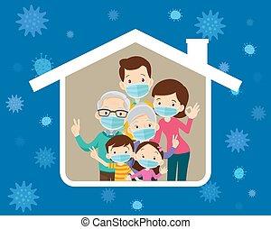 virus, casa, prevenir, icono, grande, familia , máscara ...