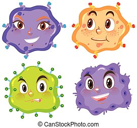Virus cells with happy faces on white background