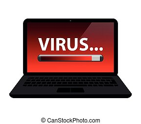 virus, chargement, internet, ordinateur portable, crime