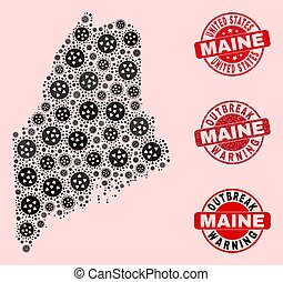 Virus Collage of Mosaic Maine State Map and Distress Seal Stamps