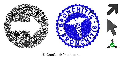 Virus Collage Rounded Arrow Icon with Doctor Textured Bronchitis Seal