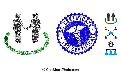 Virus Collage Trustful Area Icon with Caduceus Distress ISO Certificate Stamp