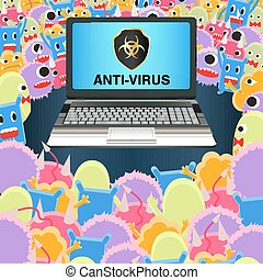 virus computer attack laptop protected antivirus