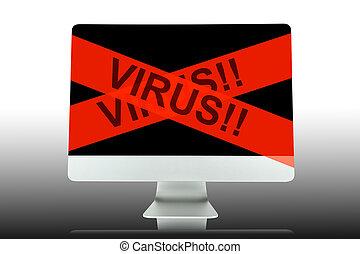 virus, computer, nastro, rosso