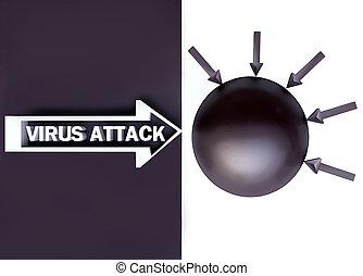 virus, concept, attaque