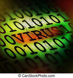 virus, concept, informatique