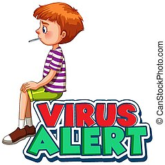 virus, conception, garçon, malade, police, alerte, mot