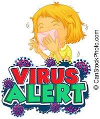 virus, conception, girl, malade, police, alerte, mot