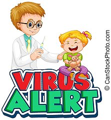 virus, conception, obtenir, police, mot, gosse, vaccin, alerte