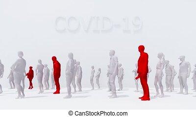 virus, covid-19, gens, 3d, fièvre, détection