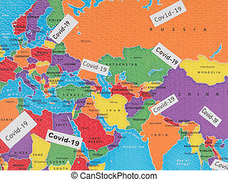 Virus covid-19 on the world map.