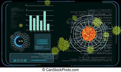 virus covid mutation digital analysis to find vaccine and medicine on black screen