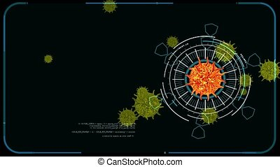virus covid mutation digital graph analysis to find vaccine and medicine on black screen