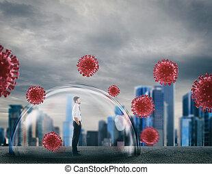 virus., dôme, lui, protège, bouclier, protection, intérieur, concept, sans risque, homme affaires, sécurité