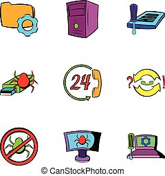 Virus danger icons set, cartoon style