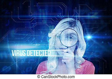 Virus detected against blue technology interface with circuit bo