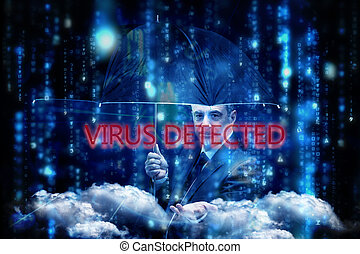 Virus detected against lines of blue blurred letters falling