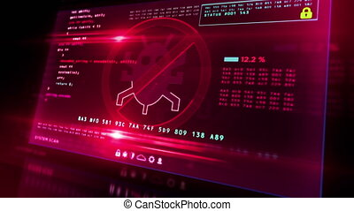 Virus detected alert on computer screen. Cyber security breach warning with worm symbol and system protection concept 3d loopable and seamless animation with glitch effect.