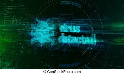 Virus detected hologram on digital background. Wrom, danger alert, infection, antivirus, cyber attack and warning abstract concept. Futuristic 3D animation.