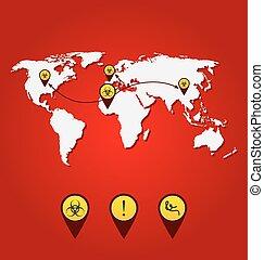 Virus Ebola outbreak, world map of spreading with bio hazard sig