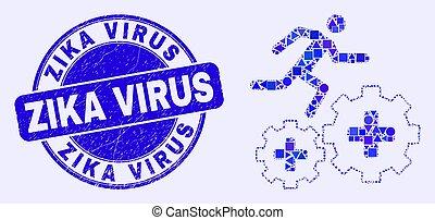 virus, engrenages, mosaïque, sur, course, zika, bleu, cachet, grunge, patient