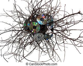virus, escultura, hecho, roble blanco, cds, fondo.