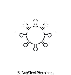 virus, fond, scanner, blanc, protection, icône, symbole, vecteur, isolé, anti