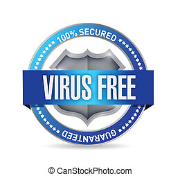 virus free seal or shield illustration design