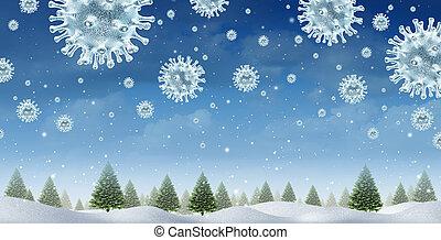virus, hiver, saison