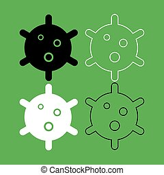 Virus icon  Black and white color set