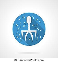 Virus icon round blue vector icon