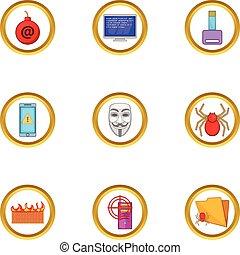 Virus icons set, cartoon style