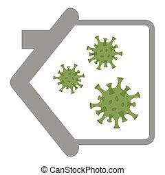 virus in a house quarantine info graphic