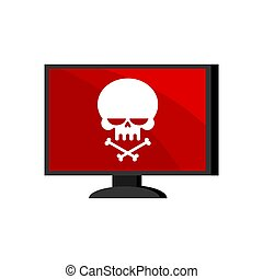Virus in computer. Skull on monitor. Cyber attack for pc. ...