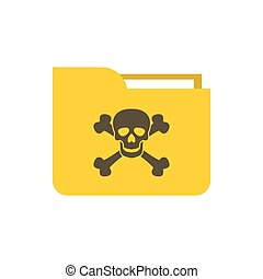Virus in e-mail icon, flat style