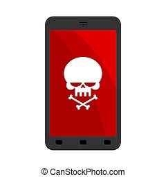 Virus in smartphone. Cyber attack on phone. Skull on screen. Blocked Gadget does not work. Vector illustration