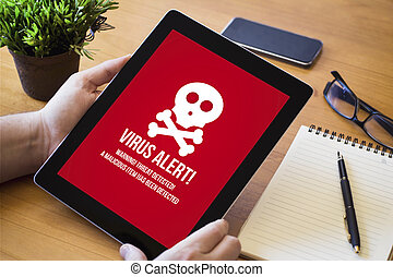 virus, infected, tablette, schreibtisch