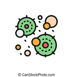 Virus infection, microbe, bacteria flat color line icon.