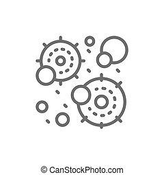 Virus infection, microbe, bacteria line icon.