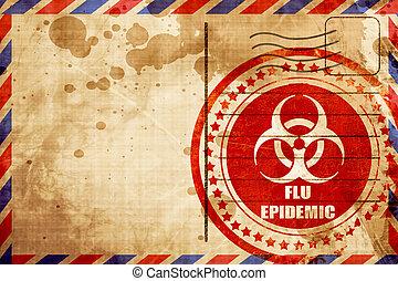 virus influenza, concetto, fondo, grunge rosso, francobollo, su, un, posta aerea, bac