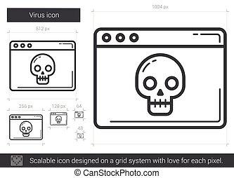 virus, lijn, icon.