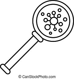 Virus magnify glass icon, outline style