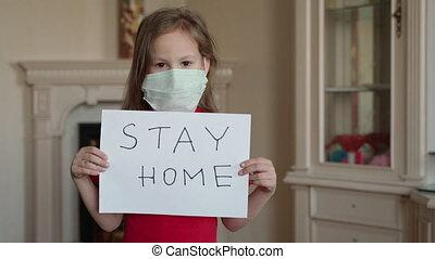 virus, masque, concept., protection, prendre, girl, santé, ...